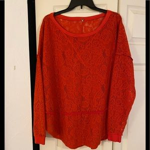 Free People Red Crocheted Sweater